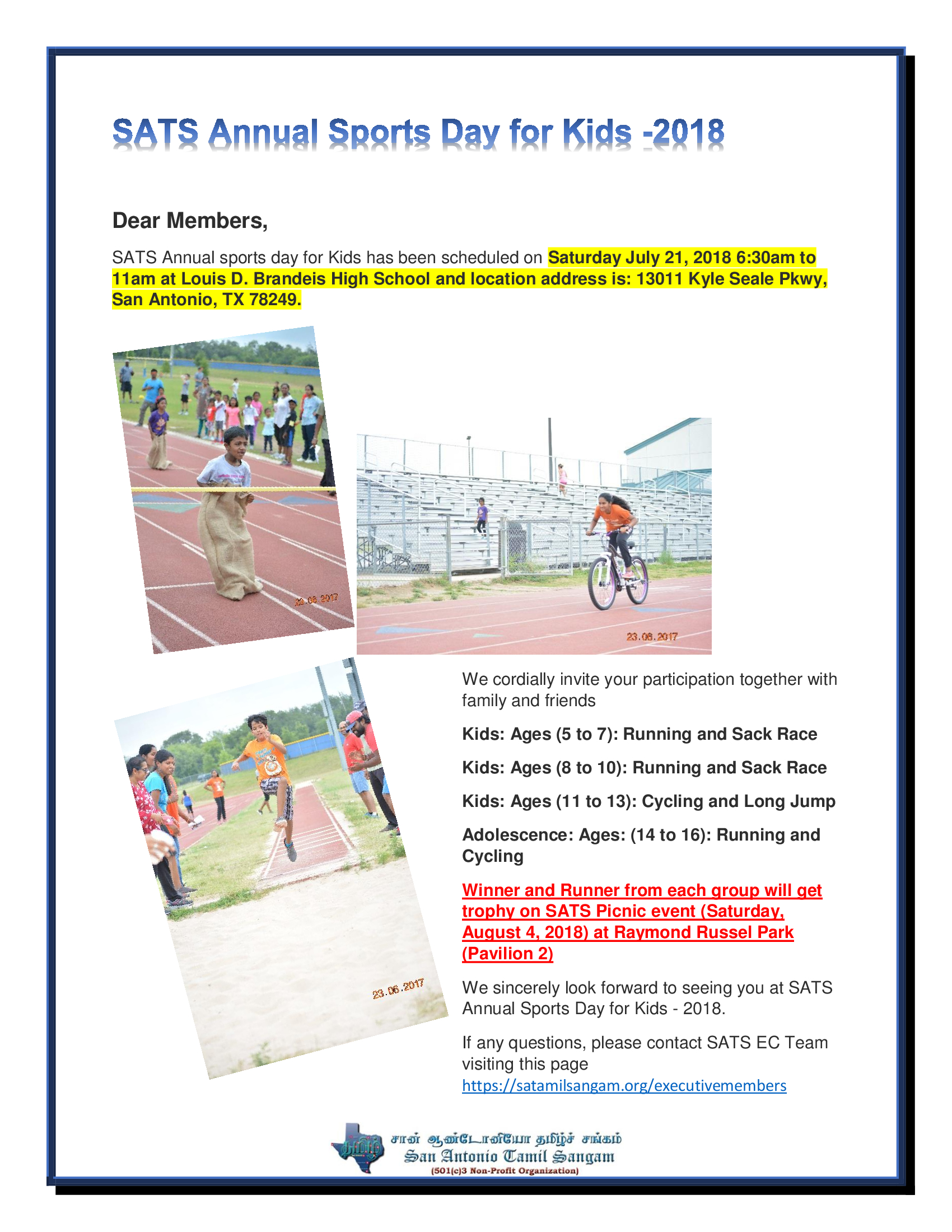 SATS Annual Sports Day for Kids -2018